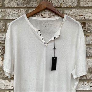 John Varvatos Eyelet Henley S/S T Shirt NWT